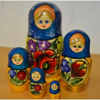 5 Piece Polkhov Blue Russian Doll