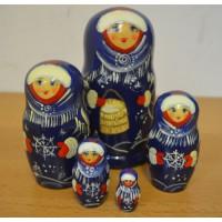 5 piece Winter Russian Doll