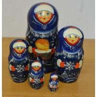 5 piece WInter Bread Russian Doll