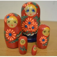 5 piece white flower russian doll