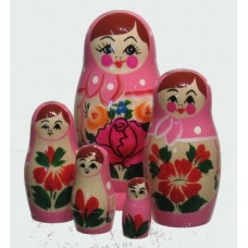 5 piece Pink Semyenov Russian Doll