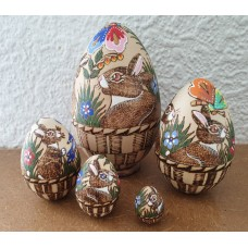 5 piece Egg shaped Rabbit Russian Doll