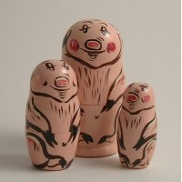 3 Piece Pig Russian Doll