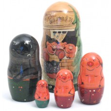 Three Pigs fairy Story 5 piece Russian Doll
